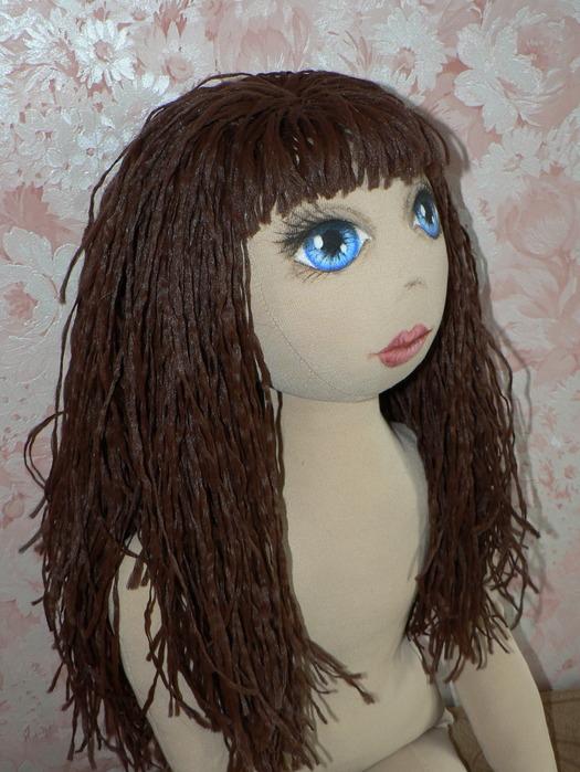 Как сделать волосы тряпичным куклами 925