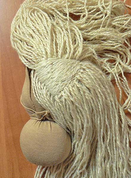 как сделать волосы вальдорфской кукле